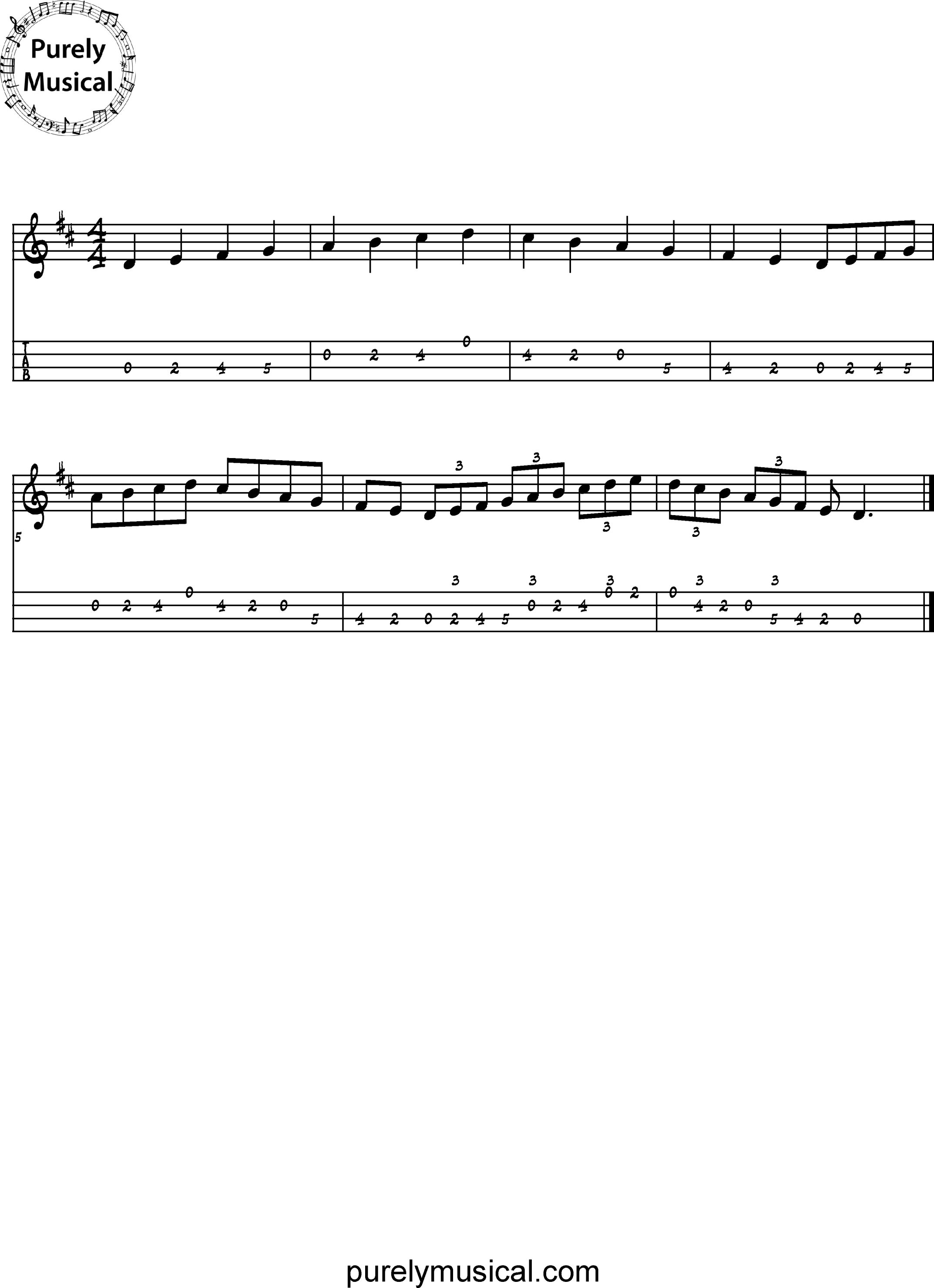 Intermediate Tenor Scale D Major Scale