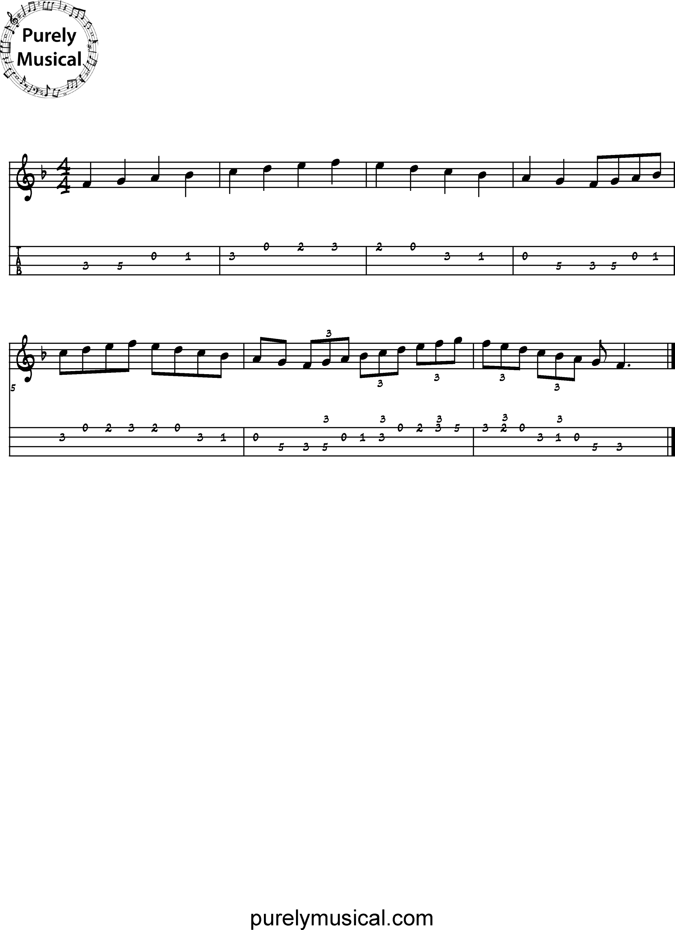 Intermediate Tenor Scale F Major Scale